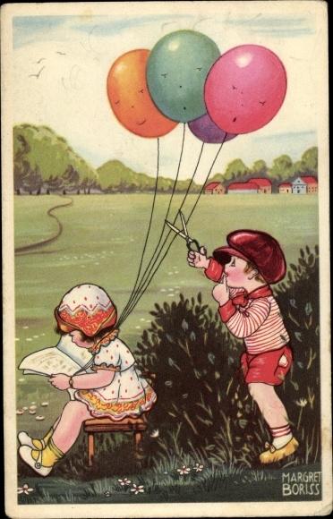 Künstler Ak Boriss, Margret, Mädchen mit Luftballons, Junge schneidet Schnüre durch, Amag 0337