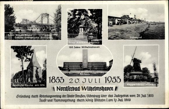 Ak Wilhelmshaven in Niedersachsen, Kaiser Wilhelm Brücke, Mühle, Rathaus, Kirche, Denkmal