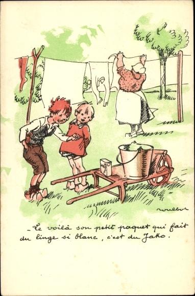 Künstler Ak Poulbot, Francisque, Frau hängt Wäsche auf, Kinder, Handkarren