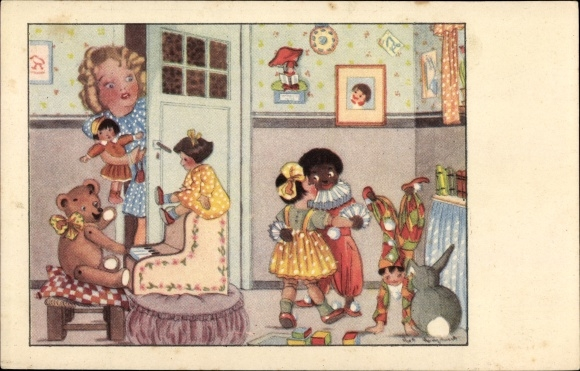 Künstler Ak Spielzeuge, Puppen, Teddybär, Golliwog