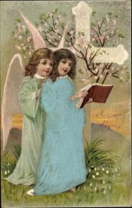 Präge Stoff Ak Glückwunsch Ostern, Engel, Kreuz