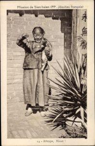 Ak Sien hsien Xian Hebei China, Mission de PP Jesuites Francais, Attrape, Minet, chat