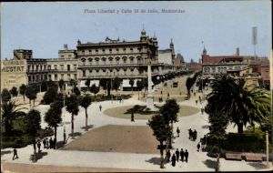 Ak Montevideo Uruguay, Plaza Liberdad y Calle 18 de Julio
