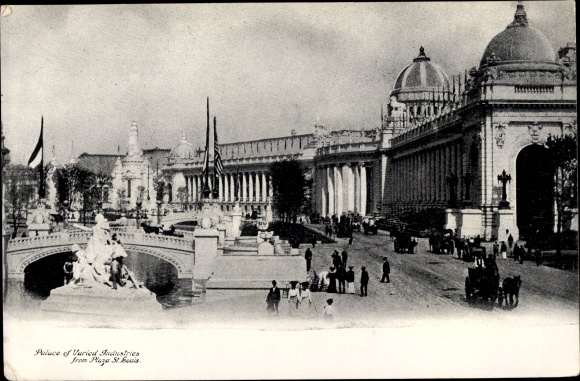 Ak St Louis Missouri USA, Palace of Varied Industries from Plaza, Worlds Fair 1904