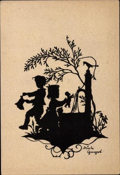 Scherenschnitt Ak Zwei Kinder am Brunnen, Puppe