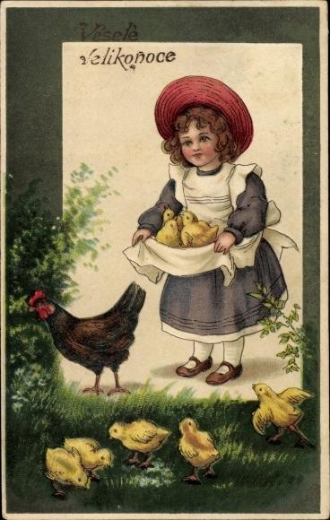 Präge Ak Glückwunsch Ostern, Mädchen mit Küken, Henne