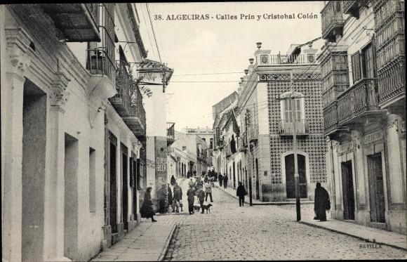 Ak Algeciras Andalusien, Calle Prin, Calle Cristobal Colon