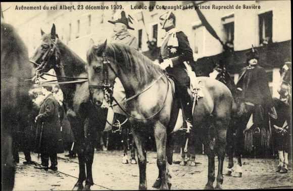 Ak Avenement du roi Albert 1909, König Albert I. von Belgien, Duc de Connaught, Rupprecht von Bayern