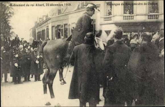 Ak Avenement du roi Albert 1909, König Albert I. von Belgien, Thronbesteigung, Bourgmestre de Laeken