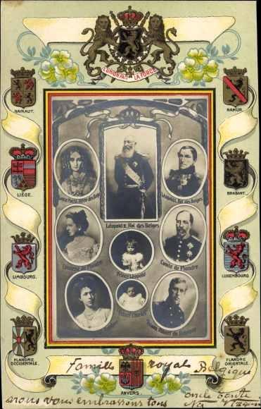 Präge Wappen Ak Belgisches Königshaus, Leopold II, Albert I., Leopold I.