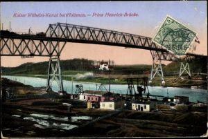 Ak Holtenau Kiel in Schleswig Holstein, Kaiser Wilhelm Kanal, Prinz Heinrich Brücke, Totalansicht
