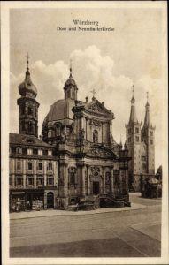 Ak Würzburg am Main Unterfranken, Dom u. Neumünsterkirche