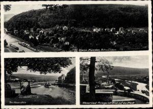 Ak Hann. Münden Niedersachsen, Panorama, Weserstein, Weserlied Anlage m. Blick auf die Stadt