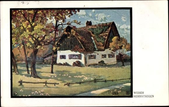 Künstler Ak Weber, Herbstsegen, Bauernhaus