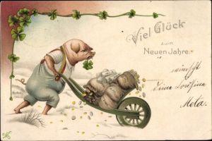 Litho Glückwunsch Neujahr, Glücksschwein, Geld, Schubkarre, Kleeblätter
