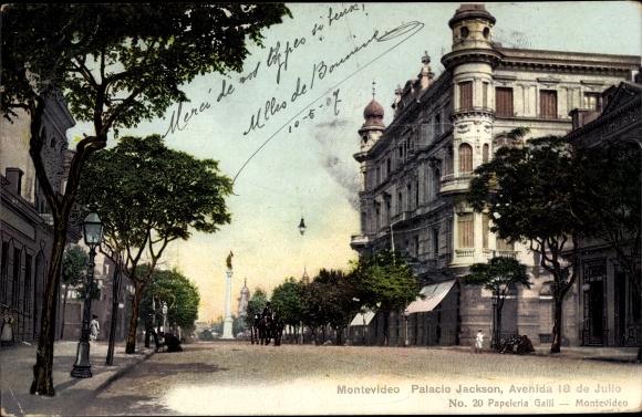 Ak Montevideo Uruguay, Palacio Jackson, Avenida 18 de Julio