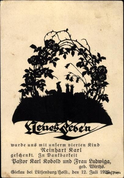Scherenschnitt Ak Neues Leben, Geburtsanzeige Reinhart Karl Kobold, 1929, Giekau Holstein