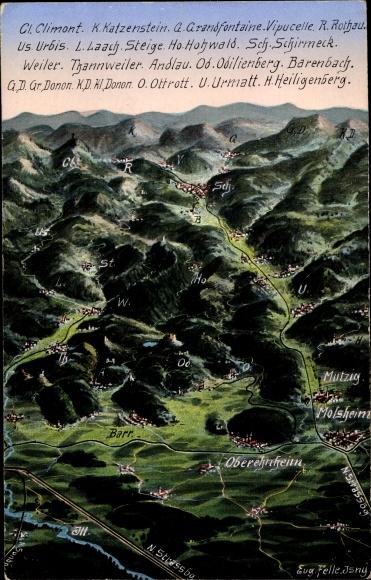 Landkarten Ak Felle, Eugen, Elsaß Bas Rhin, Climont, Katzenstein, Grandfontaine, Vipucelle