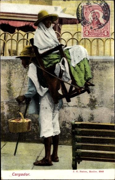 Ak Mexiko, Cargador, Träger mit Stuhl auf dem Rücken