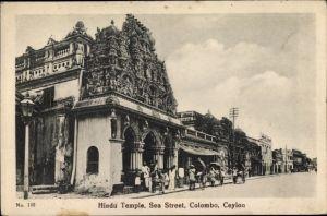 Ak Colombo Ceylon Sri Lanka, Hindu Temple, Sea Street, Rickscha