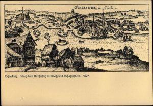 Künstler Ak Schleswig Schleswig Holstein, Panorama, Kupferstich in Meitzners Schatzkästlein 1627