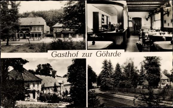 Ak Göhrde über Dahlenburg in Niedersachsen, Gasthof zur Göhrde, Außen- u. Innenansichten, Wegpartie