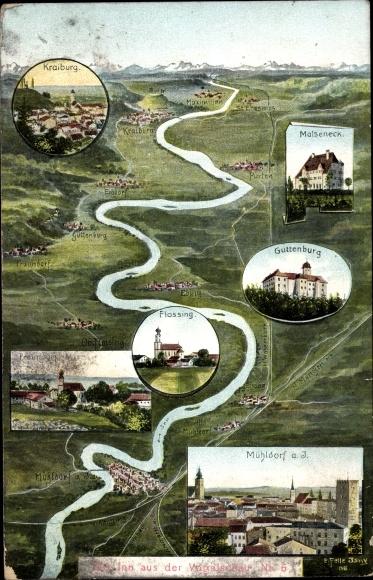 Landkarten Ak Felle, Eugen, Mühldorf am Inn Bayerisches Alpenvorland, Malseneck, Guttenburg