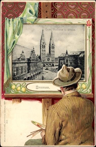 Präge Passepartout Litho Hansestadt Bremen, Dom, Rathaus u. Börse