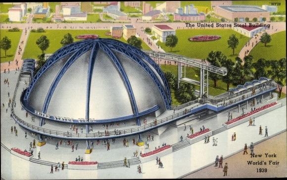 Ak New York City USA, World's Fair 1939, United States Steel Building
