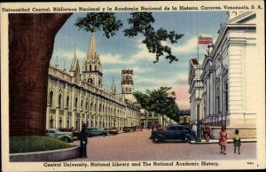 Ak Caracas Venezuela, Universidad Central, Biblioteca Nacional y la Academia Nacional de la Historia