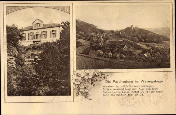 Ak Paschenburg Rinteln Weser Niedersachsen, Paschenburg, Blick ins Tal, Gedicht