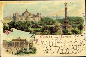 Litho Berlin Tiergarten, Reichstagsgebäude, Siegessäule, Brandenburger Tor