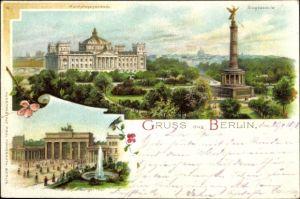 Litho Berlin Tiergarten, Siegessäule, Reichstagsgebäude, Brandenburger Tor