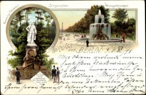 Litho Berlin Tiergarten, Lessing Denkmal, Siegesallee, Wrangelbrunnen
