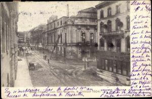 Ak Bâle Basel Stadt Schweiz, Stadttheater nach dem Brand 1904, Feuerwehr