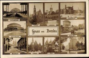 Ak Wrocław Breslau Schlesien, Jahrhunderthalle, Rathaus, Hauptbahnhof, Domstraße, Dom, Postscheckamt