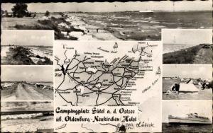 Landkarten Ak Sütel Neukirchen Holstein, Campingplatz, Strandpartie, Meerespanorama, Dampfer