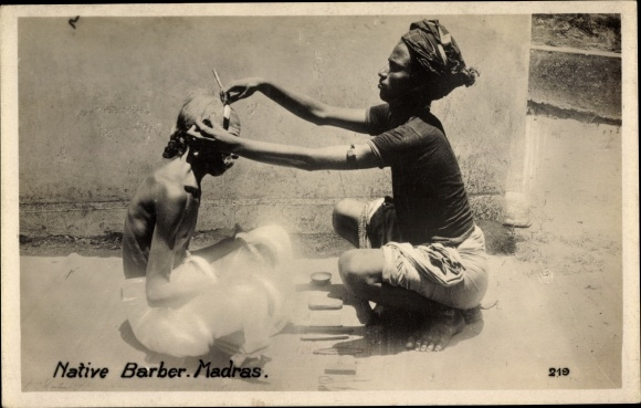 Ak Chennai Madras Indien, Native Barber, Barbier