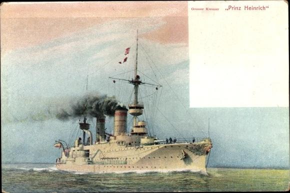 Ak Deutsches Kriegsschiff, SMS Prinz Heinrich, Großer Kreuzer, Kaiserliche Marine