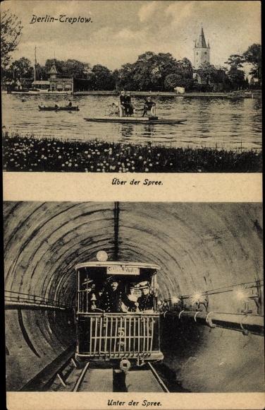 Ak Berlin Treptow, Untergrundbahn unter der Spree, Tunnel