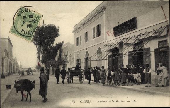 Ak Gabes Gabès Tunesien, Avenue de la Marine, Kutsche, Maghreb