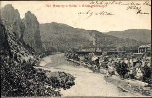 Ak Bad Münster am Stein Ebernburg Bad Keuznach in Rheinland Pfalz, Panorama mit Rheingrafenstein