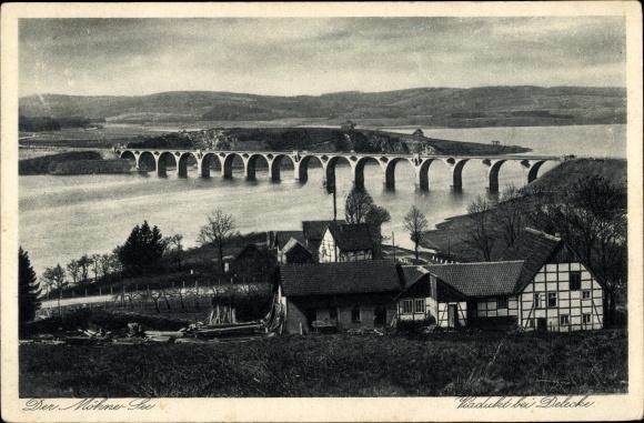 Ak Möhnesee im Kreis Soest Nordrhein Westfalen, Viadukt bei Delecke