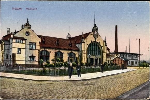 Ak Witten im Ennepe Ruhr Kreis, Ansicht vom Bahnhof, Straßenseite