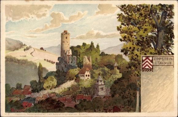 Künstler Litho Lauter, W., Eppstein in Hessen, Blick zur Burg