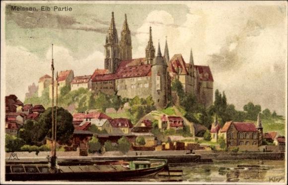 Künstler Litho Kley, Heinrich, Meißen in Sachsen, Elbpartie, Albrechtsburg, Dom