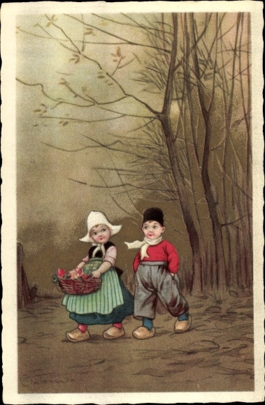 Künstler Ak Colombo, E., Zwei Kinder in niederländischer Tracht