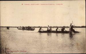 Ak Fort Lamy Tschad, Course de Pirogues, L'Arrivee
