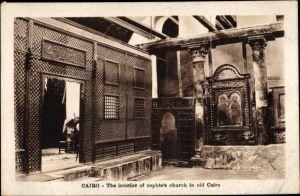 Ak Kairo Ägypten, the interior of cophte's church