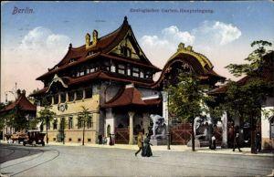 Ak Berlin Charlottenburg, Zoologischer Garten, Haupteingang, Straßenseite, Elefantenstatuen